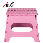 Acko 23cm Pink Folding Step Stool with Anti-Slip Surface for Kids and Adults with Handle, Holds up to 140kg