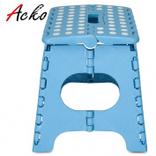 Acko Sky Blue 28cm Non Slip Folding Step Stool for Kids and Adults with Handle, Holds up to 140kg