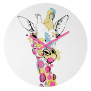 DENY Designs Casey Rogers Giraffe Colour Round Clock, 30cm Round