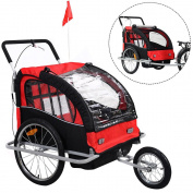 Goplus 2 in 1 Double Child Baby Bike Trailer Bicycle Carrier Jogger Stroller