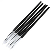 5Pcs Soft Black Handle Silicone Nail Art design stamp Pen Brush Carving Craft Pottery Sculpture UV Gel Building brushes Pencil DIY Tools