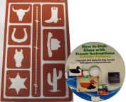 Reusable Western Stencils with Cactus, Cowboy Hat & Boot, Horseshoe, Badge and Bull Skull + How to Etch CD