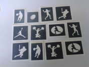 10 x American sport stencils for etching on glass (mixed) gift present glassware hobby craft baseball basketball