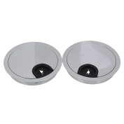 Wire Hole Cover,Ideaker 80mm Hole Diameter Bright Silver Zinc Alloy PC Computer Grommets Table Desk Cable Tidy Pack of 2