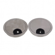 Wire Hole Cover,Ideaker 80mm Silver Hairline Finish Zinc Alloy Computer Grommets Table Desk Cable Tidy Pack of 2