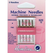 Hemline H108.75 Fine Embroidery Machine Needles 5x 75/11 Rayon/Cotton/Polyester
