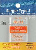 Klasse Serger Machine Needles-Size 12/80 ELx705 5/Pkg