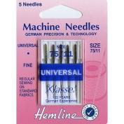 Hemline H100.75   Fine/Med Universal/Slight Ballpoint Machine Needles   5x 75/11