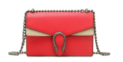 Women Flap Shoulder leather Bag Sliding Chain with textured tiger head closure