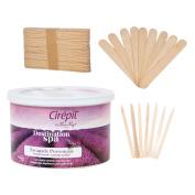 Cirepil Destination Spa Wax (410ml) Kit, includes 100 X-Small and 60 Large Applicator Sticks