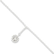 Roy Rose Jewellery Sterling Silver CZ Peace Symbol Charm Anklet 23cm length