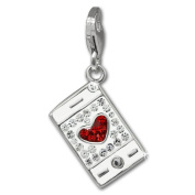 SilberDream Glitter Charm mobile phone with red and white Czech Preciosa crystals 925 Sterling Silver Charms Pendant for Charms Bracelet, Necklace or Earring GSC577W