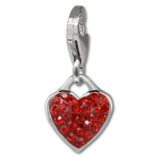 SilberDream Glitter Charm heart with red Czech Preciosa crystals 925 Sterling Silver Charms Pendant for Charms Bracelet, Necklace or Earring GSC581R