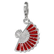 SilberDream Glitter Charm fan with red Czech crystals 925 Sterling Silver Charms Pendant for Charms Bracelet, Necklace or Earring GSC525R