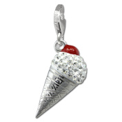 SilberDream Glitter Charm ice cream cornet with white Czech crystals 925 Sterling Silver Charms Pendant for Charms Bracelet, Necklace or Earring GSC567W