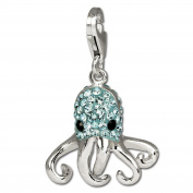 SilberDream Glitter Charm octopus with lightblue Czech crystals 925 Sterling Silver Charms Pendant for Charms Bracelet, Necklace or Earring GSC517H