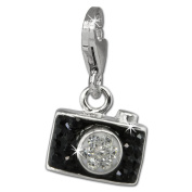 SilberDream Glitter Charm Camera with black Czech crystals 925 Sterling Silver Charms Pendant for Charms Bracelet, Necklace or Earring GSC560S