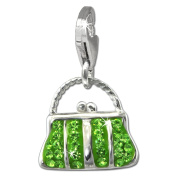 SilberDream Glitter Charm hand bag with light green Czech crystals 925 Sterling Silver Charms Pendant for Charms Bracelet, Necklace or Earring GSC559L
