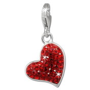 SilberDream Glitter Charm heart with red Czech crystals 925 Sterling Silver Charms Pendant for Charms Bracelet, Necklace or Earring GSC543R