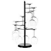 MyGift Freestanding Tabletop Stemware Rack / Spiralling 10 Wine Glass Holder, Black
