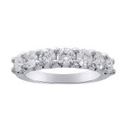 1.65 Carat Ladies 7 Stone Diamond Wedding Anniversary Band Ring 14K White Gold, Size 6.25