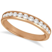 Channel Set Diamond Anniversary Ring Band 14k Rose Gold