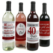 We Still Do - 40th Wedding Anniversary Wine Bottle Labels - Set of 4