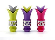 Silicone Lily Wine Bottle Stopper Pourer with Stainless Steel accent - Set of 3, Stopper Pourer for Glass Wine, Cooking Oil, Liqueur, Flavouring Bottles - Fun Colours Green, Purple, Pink