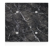 Black Marble Design Double Blank Electrical Switch Plate