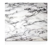 White Marble Design Double Blank Electrical Switch Plate