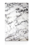 White Marble Design Single Blank Electrical Switch Plate