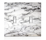 White Marble Design Double Light Switch Plate