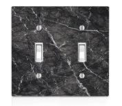 Black Marble Design Double Light Switch Plate