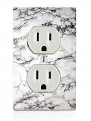 White Marble Design Electrical Outlet Plate