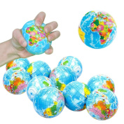 Toy Cubby Hand World Map Squeeze Globe Stress Balls - 7.6cm , 12 pieces