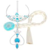 XXL Silver braid + princess crown + magic wand Halloween Toy Tiara set Dress up accessary