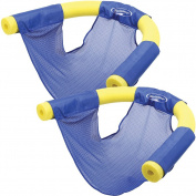 (Set/2) Swimways Summer Fun Floating Pool Noodle Sling Mesh Chairs - Blue