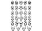 "Sugar Skulls 20mm 3/4"" - Black 14CC424 Fused Glass Decals"