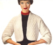 Vintage Crochet PATTERN to make - Bolero Short Jacket Sweater in Diamond Pattern. NOT a finished item. This is a pattern and/or instructions to make the item only.