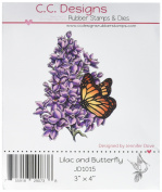 C.C. Designs Lilac & Butterfly Dove Art Cling Stamp, 7.6cm by 10cm