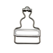 Amanaote 3.2cm Inside Bottom Size Silvery Dungaree Fastener Suspender Buckle with slider Pack of 10