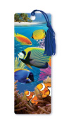 Dimension 9 3D Lenticular Bookmark with Tassel, Tropical Fish Featuring Coral Reef