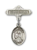 ReligiousObsession's Sterling Silver Baby Badge with St. Isaac Jogues Charm and Godchild Badge Pin