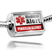 Sterling Silver Charm Medical Alert Red Penicillin Allergy - Bead Fit All Europ