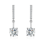 Platinum-Plated Cubic Zirconia Drop Earrings