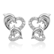 Sterling Silver CZ Twin Heart Mom & Baby Dolphin Fish Love Symbol Post Stud Earrings 13 mm