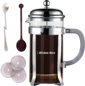 Kitchen Hero French Press Coffee Maker - Best for Hot or Cold Brew, Tea or Espresso. With Stainless Steel Plunger and Large 1010ml (1 Litre) Heat Resistant Glass Carafe