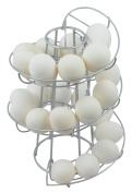 Southern Homewares Egg Skelter Deluxe Modern Spiralling Dispenser Hangable Rack, Silver