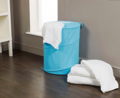 H and L Russel Pop Up Laundry Hamper, Blue