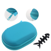 Litop Oval Style PU Earphone Case Bag Carrying Hard Case Storage Bag for MP3/MP4 Bluetooth Earphone Earbuds Zipper Enclosure Inner Pocket with Cost-free Fish Bone Shape Earphone Organiser Winder